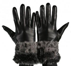 Black trim fur glove